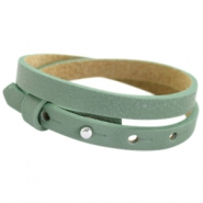 Cuoio bracelets double leather 8mm for 12mm cabochon Dark sea mist green