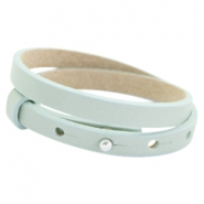Cuoio bracelets double leather 8mm for 12mm cabochon Soft sky blue