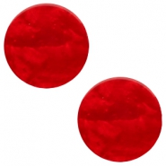 7mm flat Polaris Elements cabochon Mosso Shiny Scarlet red