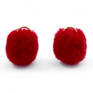 Golden pompom charm with eye 15mm Port red