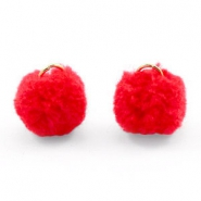 Golden pompom charm with eye 15mm Fiery red