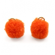 Golden pompom charm with eye 15mm Coral red orange