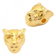 DQ metal beads leopard head 10x9mm Gold (nickel free)