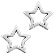 DQ metal charms open star Antique silver (nickel free)