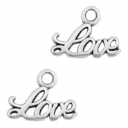"DQ metal charms ""LOVE"" Antique silver (nickel free)"