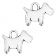 DQ metal charms dog Antique silver (nickel free)