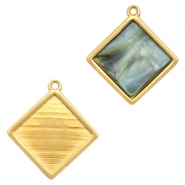 DQ metal square settings with one eye for 12mm cabochon Gold (nickel free)