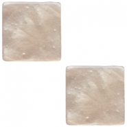 20mm flat square Polaris Elements cabochon Mosso Shiny White opal grey