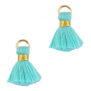 Ibiza style tassels 1.5mm Gold-turquoise blue