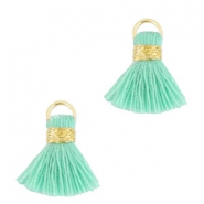 Ibiza style tassels 1.5mm Gold-turquoise green