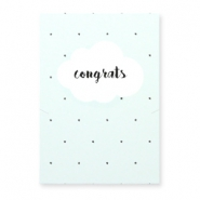 "Jewellery greeting card ""CONGRATS"" Light blue-white"