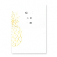 "Jewellery greeting card ""YOU ARE ONE OF KIND"" White-yellow"