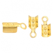 DQ metal findings fold over cord ends 2mm Gold (nickel free)