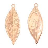DQ metal charms leaf 35x13mm Rose gold (nickel free)