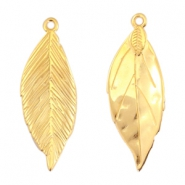DQ metal charms leaf 35x13mm Gold (nickel free)