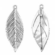 DQ metal charms leaf 35x13mm Antique silver (nickel free)
