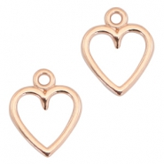 DQ metal charms open heart 14x11mm Rose gold (nickel free)