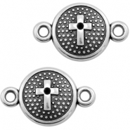 DQ metal charms connector with cross 20X13mm Antique silver (nickel free)