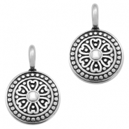 Round DQ metal charms with mandala 17x13mm Antique silver (nickel free)