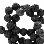 4mm matt natural stone beads Lava black