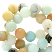 6mm natural stone beads Multicolor soft turquoise-brown