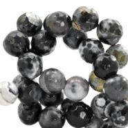 8mm round agate semi-precious stones faceted cut Black-grey opal