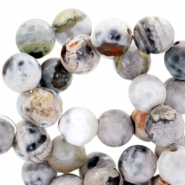 8mm round agate semi-precious stones faceted cut White-grey opal