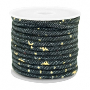 Trendy stitched denim cord 4x3mm Indigo night blue-gold