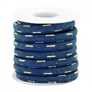 Trendy stitched denim cord 6x4mm Dark midnight blue-gold
