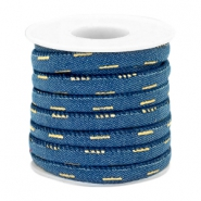 Trendy stitched denim cord 6x4mm Midnight blue-gold