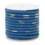 Trendy stitched denim cord 4x3mm Midnight blue-gold