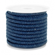 Trendy stitched denim cord 4x3mm Midnight navy blue