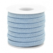 Trendy stitched denim cord 6x4mm Light blue