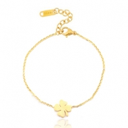 Stainless steel bracelets clover four Gold