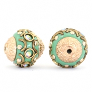 Bohemian beads 14mm Turquoise green-crystal AB-gold