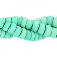 Coconut beads disc 6mm Turquoise green