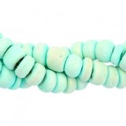 Coconut beads disc 6mm Light turquoise green