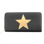 Trendy faux leather wallets light rosegold star Anthracite
