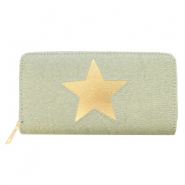 Trendy faux leather wallets light rosegold star Green-grey