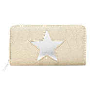 Trendy faux leather wallets silver star Light taupe