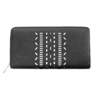 Trendy faux leather wallets silver ethnic Black