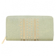 Trendy faux leather wallets light rosegold ethnic Green-grey