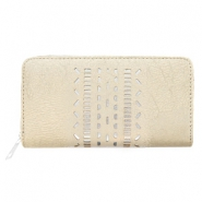 Trendy faux leather wallets silver ethnic Light taupe