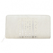 Trendy faux leather wallets silver ethnic Light grey