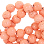 Round turquoise ceramic beads 4mm Dark rose peach
