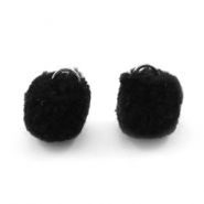 Silver pompom charms with eye 15mm Black