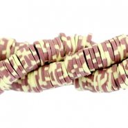 Katsuki beads animal print 4mm Red brown-yellow