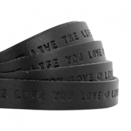 "Flat 10mm DQ leather with ""live the life you love"" print Nero black"