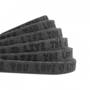 "Flat 5mm DQ leather with ""live the life you love"" print Vintage black"