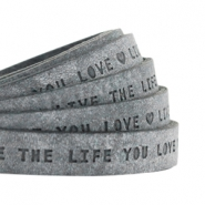"Flat 10mm DQ leather with ""live the life you love"" print Black"